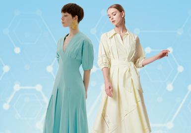 本次数据分析是根据POP5-6月份用户下载数据整理所得,通过数据分析连衣裙单品中简欧中淑风格占比较高,多以慵懒舒适的茶歇裙为主,收腰、长款则为常见廓形;占比其次较高的是宫廷复古风格,更多体现在上宽下窄的袖部造型上,体现出高贵的气质,而蕾丝作为辅料出现,以边缘或胸前部位拼接居多,体现出优雅的奢华宫廷感。