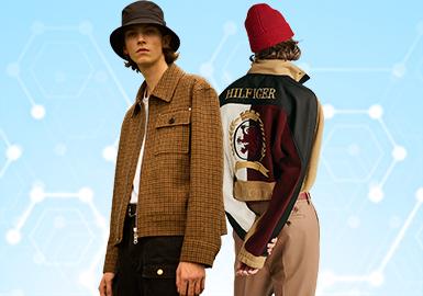 根据POP6月份用户下载量的TOP100男装夹克数据分析,运动风依然持续发酵,其他风格也有偏向运动风的趋势。夹克开始注重细节的设计,花样的贴牌装饰、功能性和时尚度兼具的内里设计等细节,为款式增加看点,而拼接设计也依然是款式离不开的设计表现手法。
