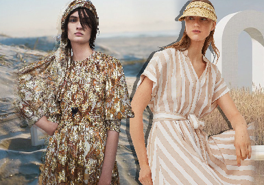 本次报告以ZARA、H&M、Urban Revivo为重点参考品牌。本季快时尚品牌值得重点关注的主要设计方向包含:卡通动画IP合作系列图案、度假系植物花卉及风景动物印花等图案;度假风成为快时尚品牌的重点风格;透气环保棉麻及天然滑顺丝绸仍是快时尚品牌选用的重要面料;连衣裙是最受欢迎的热门单品,抽褶工艺应用依旧占据快销市场较大份额。