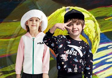 根据五大运动标杆品牌(Adidas、NIKE、Fila、Anta Kids、Jordan)款式数据显示,2020SS运动品牌主要专业运动,以及休闲运动风为主线,出彩的色彩搭配刷新运动拼接,球队主题、IP联名以及品牌Logo为主要的图案,呈现出简约时尚运动感觉。