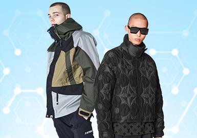 根据POP7月份用户下载量的TOP100男装棉服/羽绒服数据分析,时尚休闲和户外风尚类的款式持续得到关注,而街头潮牌类在本月则有一定的消沉。图案类依然以文字占重要比例,值得一提的是地貌肌理感的图案有所提升。在廓形方面可以看出马甲和面包服款式上尤为突出。而在工艺方面,拼接设计重点突出在异质和颜色对撞上,其次特殊的绗缝工艺成为焦点,以织带点缀装饰的款式也占据了一小部分比例,织带的运用增加了细节的丰富度。