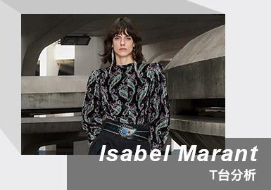 """ISABEL MARANT, 由同名设计师 Isabel Marant 于1994年在法国创立。Isabel Marant 2021/22秋冬系列大秀在巴黎郊外拍摄的录像带,以及露天建筑物的野蛮派和催眠蜗壳,作为该系列的介绍。Gabber Eleganza崇高的配乐是民谣与科技节奏的共生组合,在混凝土墙内回荡,向久违的政党致敬的颂歌。关于本系列Isabel Marant 这样描述到 """"以2030年代的面料,呈现1980世代的流行"""" 皮革、镂空、亮片、铆钉,她用充满未来感的材质、色彩和更瘦削的轮廓来表现自己眼中的80年代未来主义。便携式卡带录音机作为演出邀请函寄送给了顾客,戴上耳机,当你按下""""播放""""键时,伴随本季秀场bgm的响起,参加一场跨越时间和空间的复古Party。"""